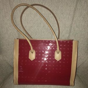 Handbags - Red and tan Patent leather tote bag.